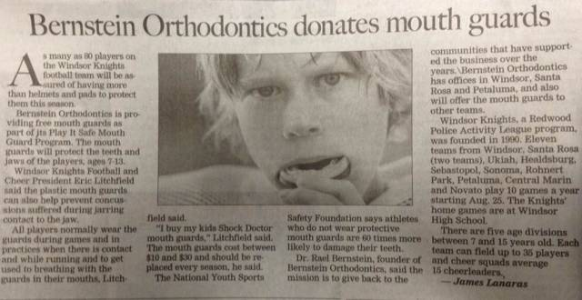 Bernstein Orthodontics donates mouth guard